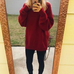 Cherry Woven Knit Sweater